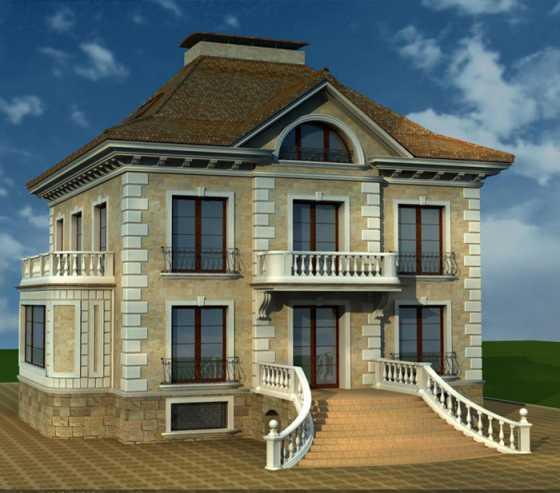 Красивый фасад дома и ухоженный
